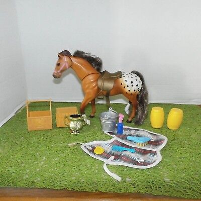 Grand Champion (GC) Toy Horse Figure (Brown Spotted ) w/ Saddle and Accessories