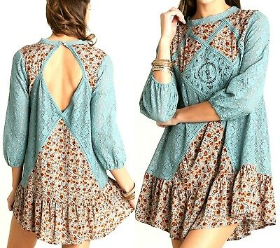 Umgee Dress Size XL S M L Teal Floral Sheer Lace Tunic Boho Womens Boutique New