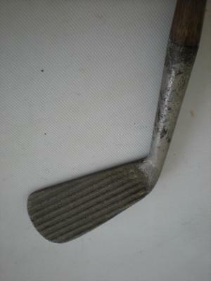 Antique William Gibson Deep Groove Iron Baxpin Jerko Hickory Golf Club - Rare