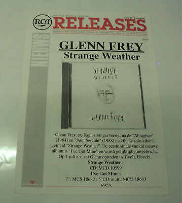 Glenn Frey The Eagles Dutch Holland Rca 1992 Promo Release Sheet Strange Weather
