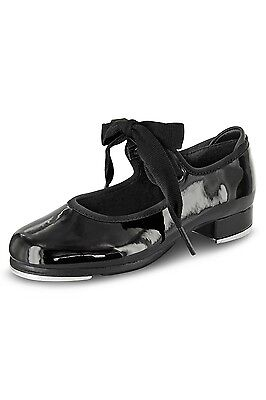NEW IN BOX Dance Now Student Tap Shoe, DN3720L in Patent Black, Adult Sizes