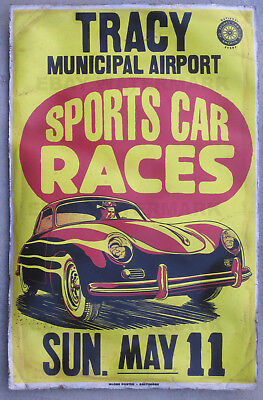 1950's Porsche 356 Coupe Vintage Tracy California Race Advertising Poster 11x17