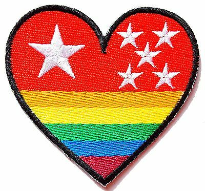 iron-on Patch escutcheon embroidered HEART FLAG RAINBOW, GAY
