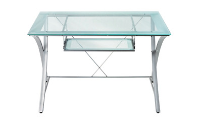 Realspace Zentra Computer Desk Silver/Clear and Secretary Chairs
