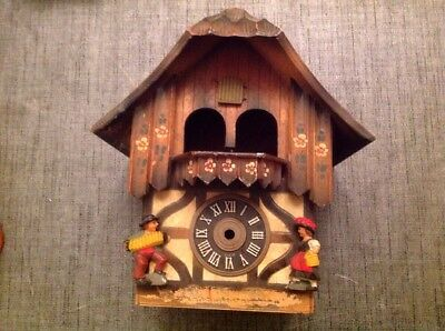 Antique Black Forest Cuckoo Clock Case For Restoration Or Spare Parts 26x23x65cm