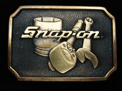 QJ01109 VINTAGE 1970s **SNAP-ON** TOOLS COMPANY SOLID BRASS BTS BELT BUCKLE