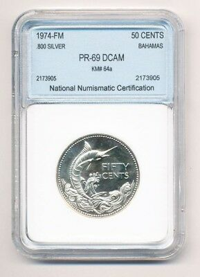 1974-FM Bahamas Fifty Cents .800 Silver .50C Exact Coin Shown - FREE Shipping