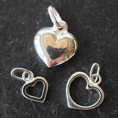 Sterling Silver (925) Jewellery Findings Heart Charm Pendants