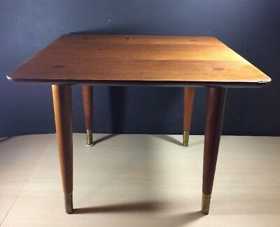 MID CENTURY MODERN Squared Side End TABLE Vintage Wood brass metal shoes legs