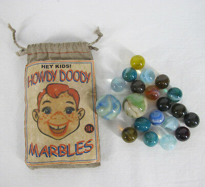 HOWDY DOODY TV Show 1950's RARE Vintage 10 Cent Marble Bag Set 20 Marbles  yqz