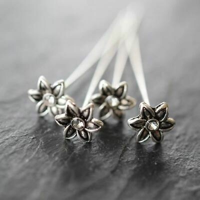 Silver Plated Jewellery Findings Flower Headpins