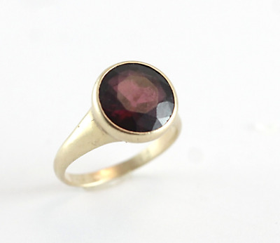 Antique Victorian RARE Garnet Solitaire 14k Yellow Gold Ring Size 6