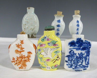 7 Porcelain Painted&Calligraphy Snuff and Medicine Bottles Qing - Republican yqz