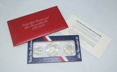 1776-1976 US Mint Bicentennial Silver Uncirculated 3-Coin Set - FREE Shipping