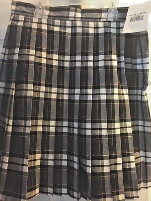 French Toast  Girls' BROWN Plaid Pleated Skirt. szv 16 1/2 Plus. NEW