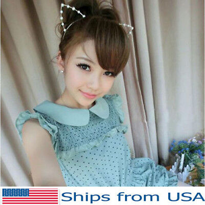Cat Ears Metal Faux Pearl Gold Punk Costume Party Headband Hair Band Halloween