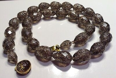 Vintage West Germany Plastic Clear Gray Beads Silver Confetti Necklace