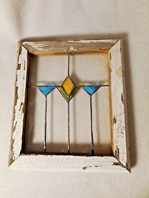Vintage Stained Glass Window-Small-Primitive Looking