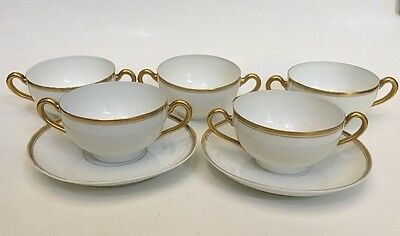 Turin Bavaria Porcelain Double Handled Soup Cup Cups & Saucers Plates Lot
