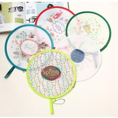 US Chinese Style Mini Round Hand Fan Portable Foldable Pocket Fan Cooling