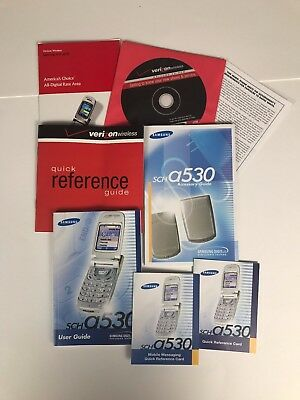 Samsung SCH-A530 Flip Phone User Guide Quick Reference Guide/Cards +Verizon CD