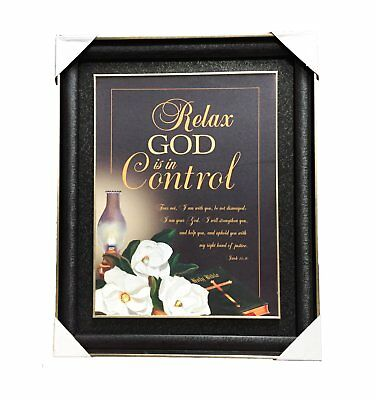 Relax God is in Control Christian Religious Picture Wall Art Black Gold Frame