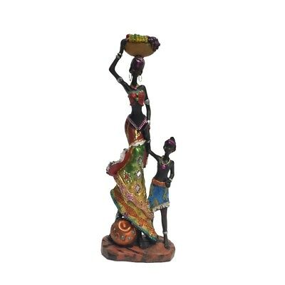 Lady African Tribe Mother and Child Figurine