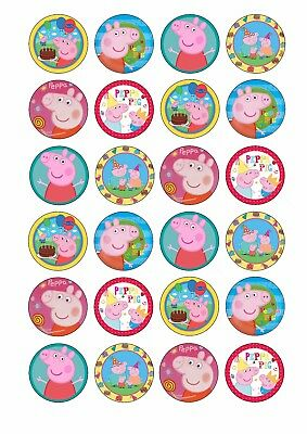 24 X PEPPA PIG Edible Wafer / Rice Paper Cupcake Toppers CAKE DECORATIONS