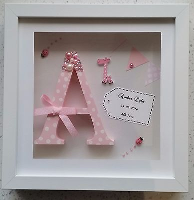 Handmade Personalised Box Frame Initial Letter Christening/boy/girl/ Baby