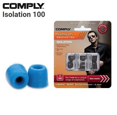 Comply Foam T-100 Isolation 3 Pairs In-Ear Earphone Tips Medium Blue LE