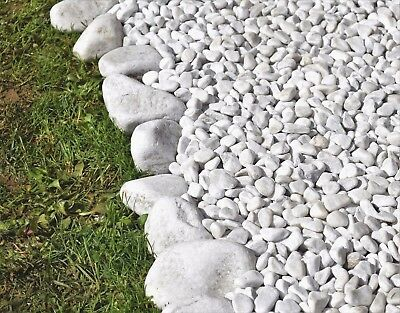 Decorative Stones WHITE MARBLE  Pebbles / Chippings HOME & GARDEN ** 20 kg BAG