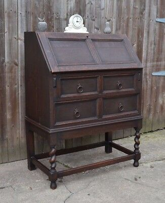 Lovely Solid Oak Jacobean Style Bureau Writing Desk Home Office Laptop Desk