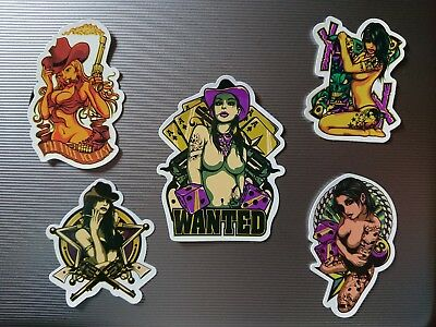 5x SEXY TATTOO COWGIRL POKER CASINO STICKER PACK DICE SKATEBOARD INK SNOWBOARD