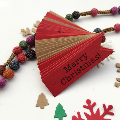 100pcs Merry Christmas Paper Gift Tags Label Hanging Cards Home Party Decor