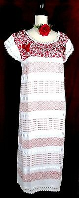 5 de Mayo Mexico White Dress Wedding Hand loom Red Embroidery Frida Cotton L/XL