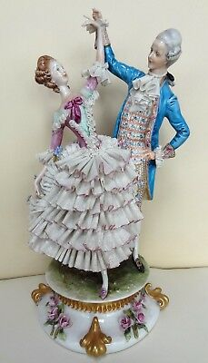 "Superb Rare 13"" Cappe Capodimonte Lace Porcelain Dancing Figure Group"