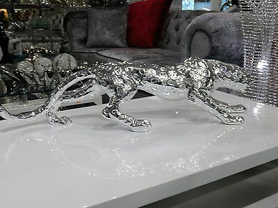 Stunning Large Chrome silver Leopard ornament, Table Decor (80cm)