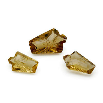 7.16 Ctw Fancy Cut Carved Brownish Yellow Bear Quartz  - 3 Pieces