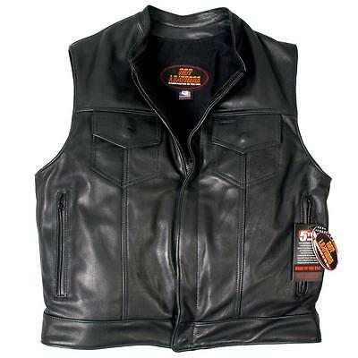 USA Hot Leathers Quality Biker Leather Waistcoat 1 piece back 5 YEAR GUARANTEE