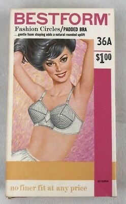 VTG 50s 60s DEADSTOCK NEW bullet bra Bestform Fashion Circles Padded Sz 36A NIB