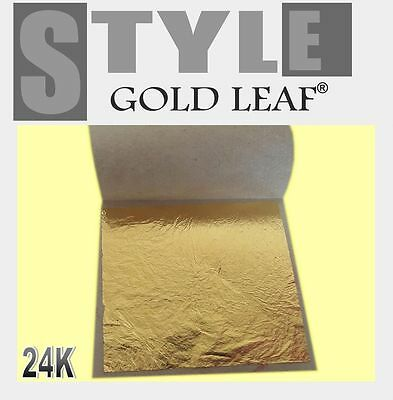 "Gold Leaf Sheets on Base 24K for Framing Artist Design & Gilding 1.8""x1.8"""