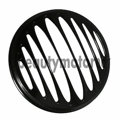 Black 7 Cnc Billet Aluminum Motorcycle Headlight Grill Cover For