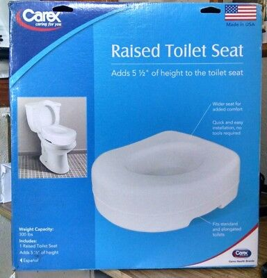 """Carex 5 1/2"""" Raised Toilet Seat 023601131003 Made In The Usa"""