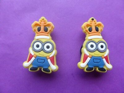 2 King Bob Minions Despicable Me jibbitz croc shoe charms loom band cake toppers