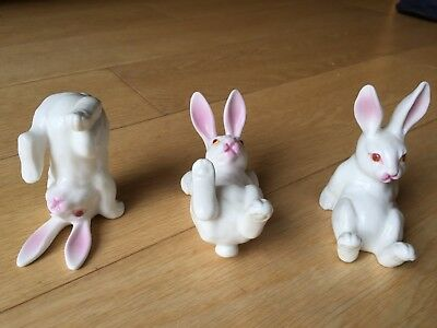 Tumbling Porcelain Rabbits (Set of 3)