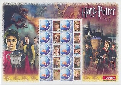 Stamps Australia Goblet Of Fire Smilers Sheet From Harry Potter Collection