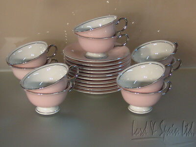10 Castleton Porcelain SHELL PINK & Platinum Trim Cups & Saucers