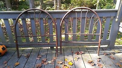 2 Antique Vintage Metal Crib Baby Bed Headboard Shabby Garden Trellis Decor