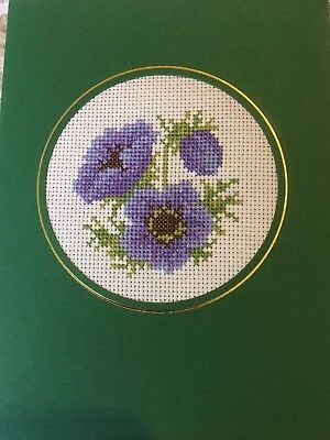 Completed Cross Stitch Card Anemones 8 x 6