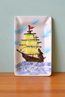 Vintage ceramic plate dish serving platter display sailing ship tall ship